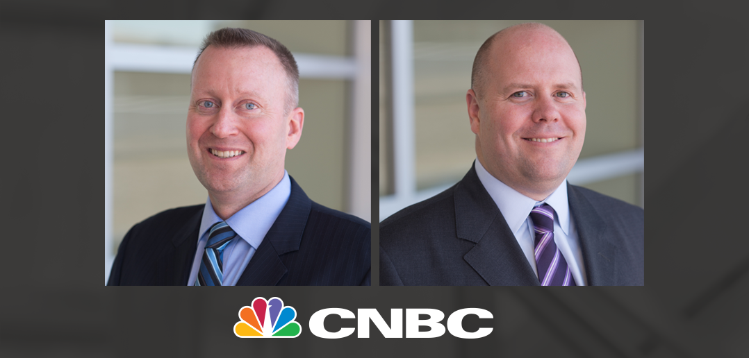mike Haynie and Alex mckelvie with CNBC logo