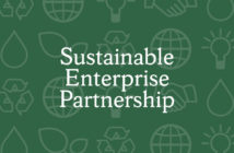 """This banner says """"Sustainable Enterprise Partnership."""""""
