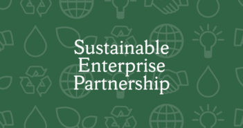 "This banner says ""Sustainable Enterprise Partnership."""