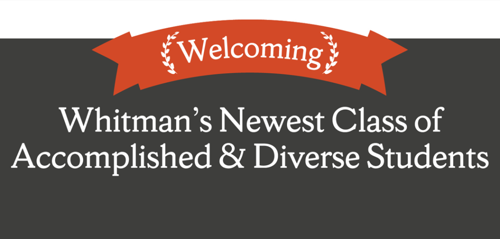 "A banner that says ""Welcome"" and ""Whitman's Newest Class of Accomplished & Diverse Students."""