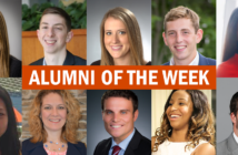 """This graphic features pictures of Whitman School alumni and says """"Alumni of the week""""."""