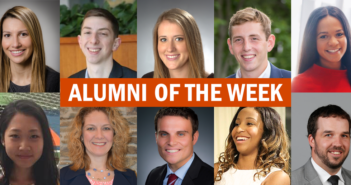 "This graphic features pictures of Whitman School alumni and says ""Alumni of the week""."