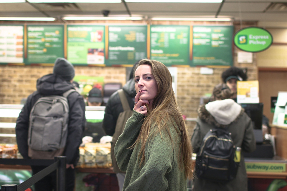 A girl at Subway