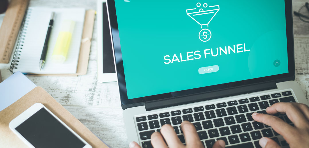 Sales funnel on computer