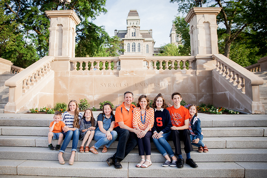 Todd Moss's family in front of the Hall of Languages