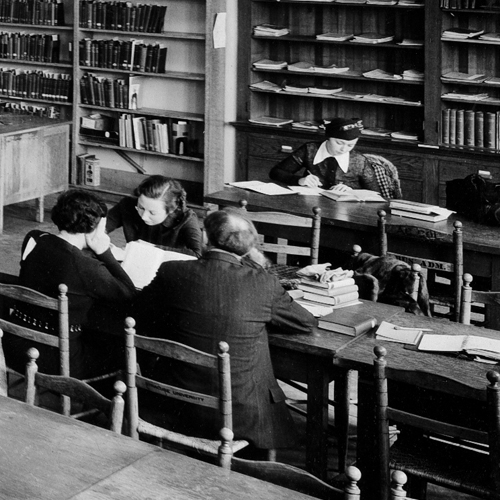 student in the library in 1965