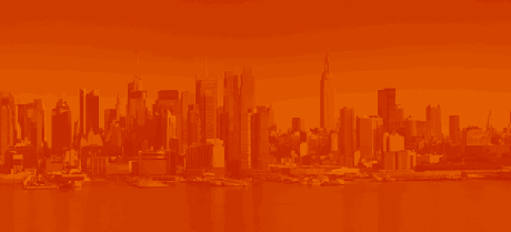 Image of the New York City skyline in orange
