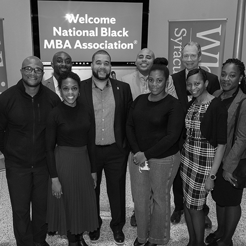 Group of students during a National Black MBA reception