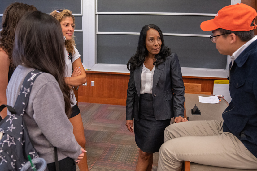 Diane Crawford meets with students