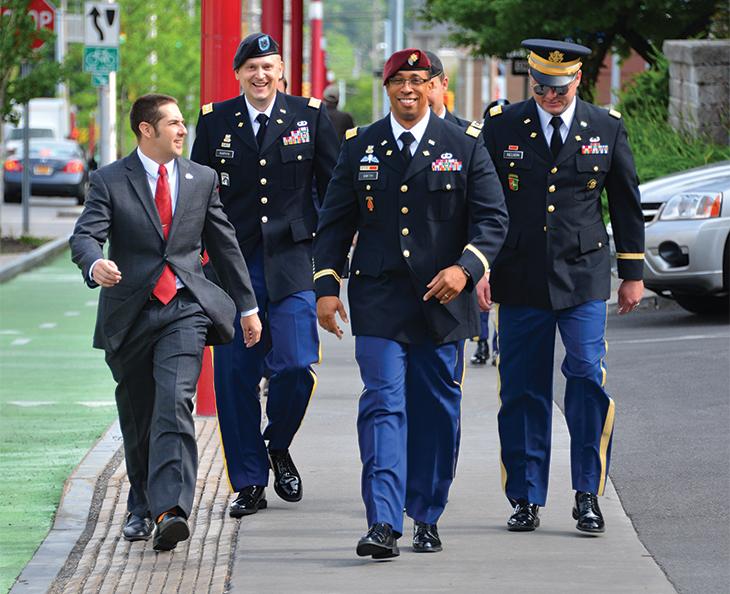 military members walking on campus