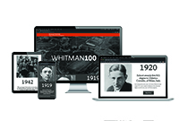 image of computers and mobile devices with the Whitman 100 Timeline on the screens