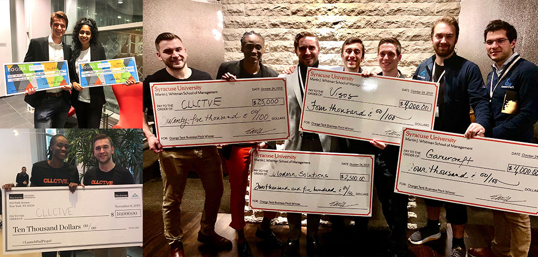 student winners with large checks