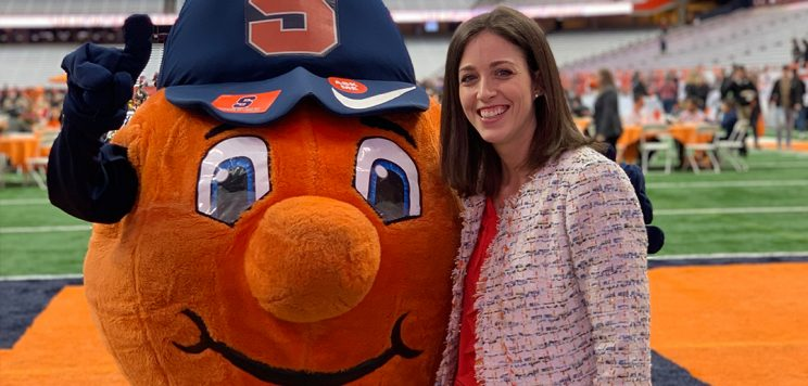 Rachel DuBois posing with Otto at the Dome