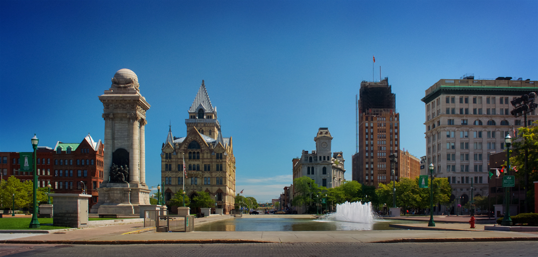 buildings in Clinton Square, downtown Syracuse, NY