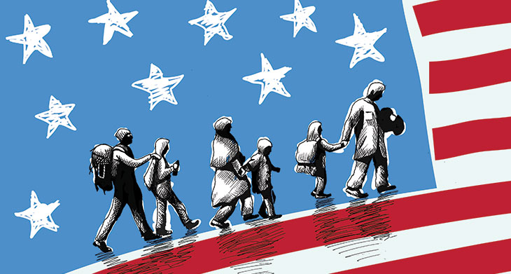 illustration of american flag and immigrants