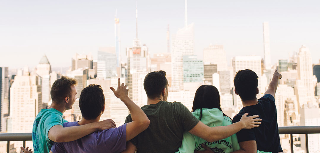Whitman students watching the NYC skyline