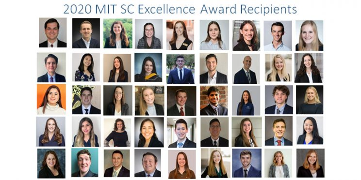 headshots of the students who received the 2020 MIT SCM Awards