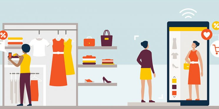 graphic illustration of people trying on clothing virtually