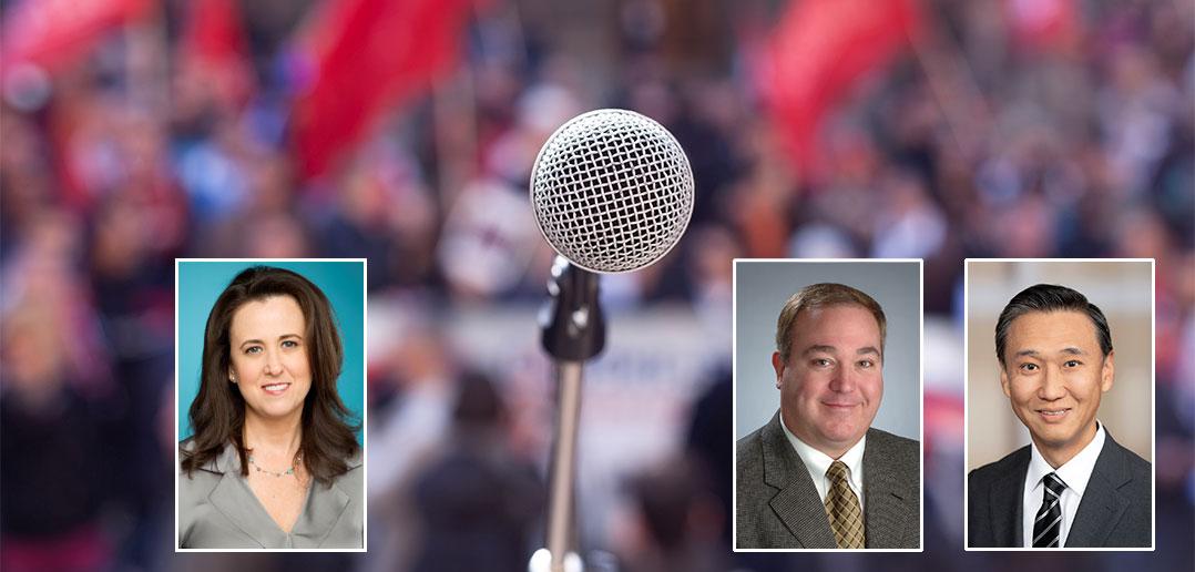 microphone and headshots of three panelists