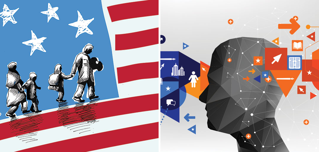 illustration on the left shows people walking on a flag, illustration on the right shows a sellout and the connections of many outside sources