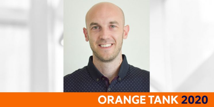 headshot of Joseph Rishe and the text Orange Tank 2020
