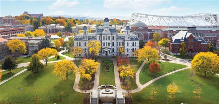 aerial image of the Syracuse University campus, showing the iconic Hall of Languages
