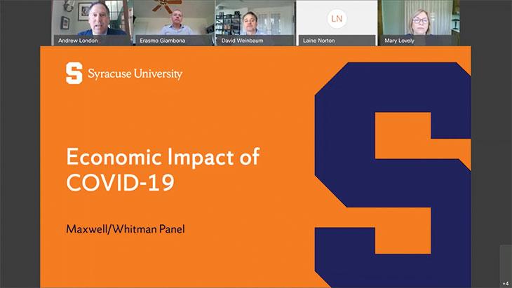 Screen shot from the webinar Economic impact of Covid-19