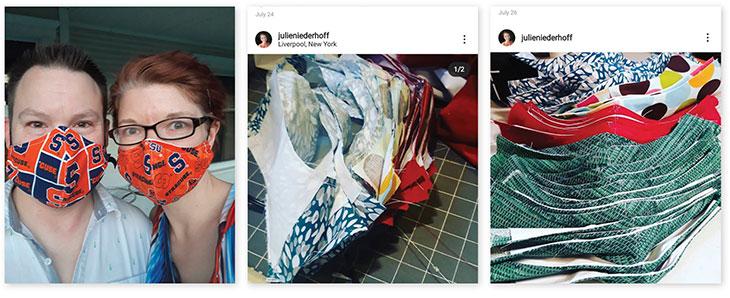 Image 1: Julie Niederhoff and husband wearing masks Image 2: Instagram post showing masks