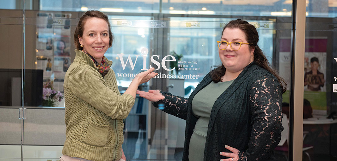 Meghan Florkowski and Carolyn Tucker outside the WISE Center