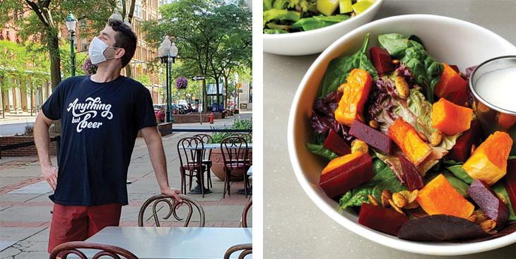 Image 1: Logan Bonney outside his restaurant Image 2: Bowl of beet salad